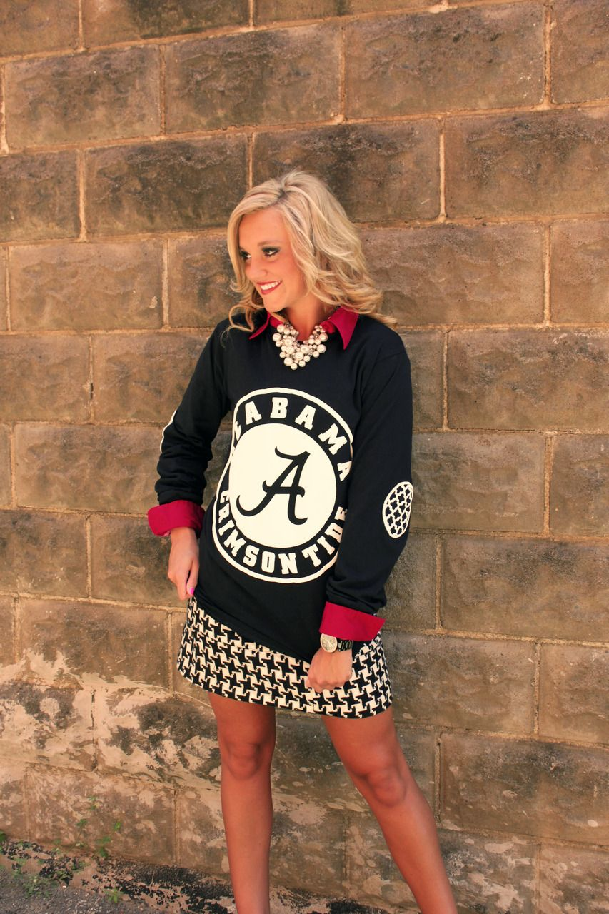 Gameday Couture - ALABAMA BLACK AND WHITE ELBOW PATCH TEE, $36.00 (http:/