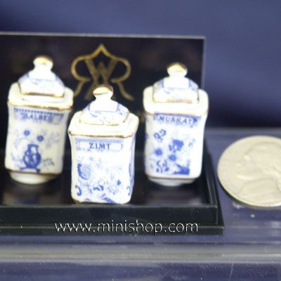Dollhouse Miniature Blue /& White Ceramic Canister with Removable Lid