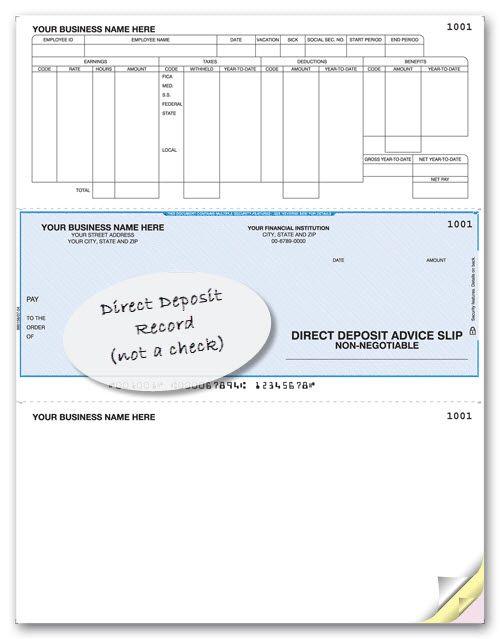 Laser Printer Direct Deposit Advice Slip Item Number 880158 - payment slips
