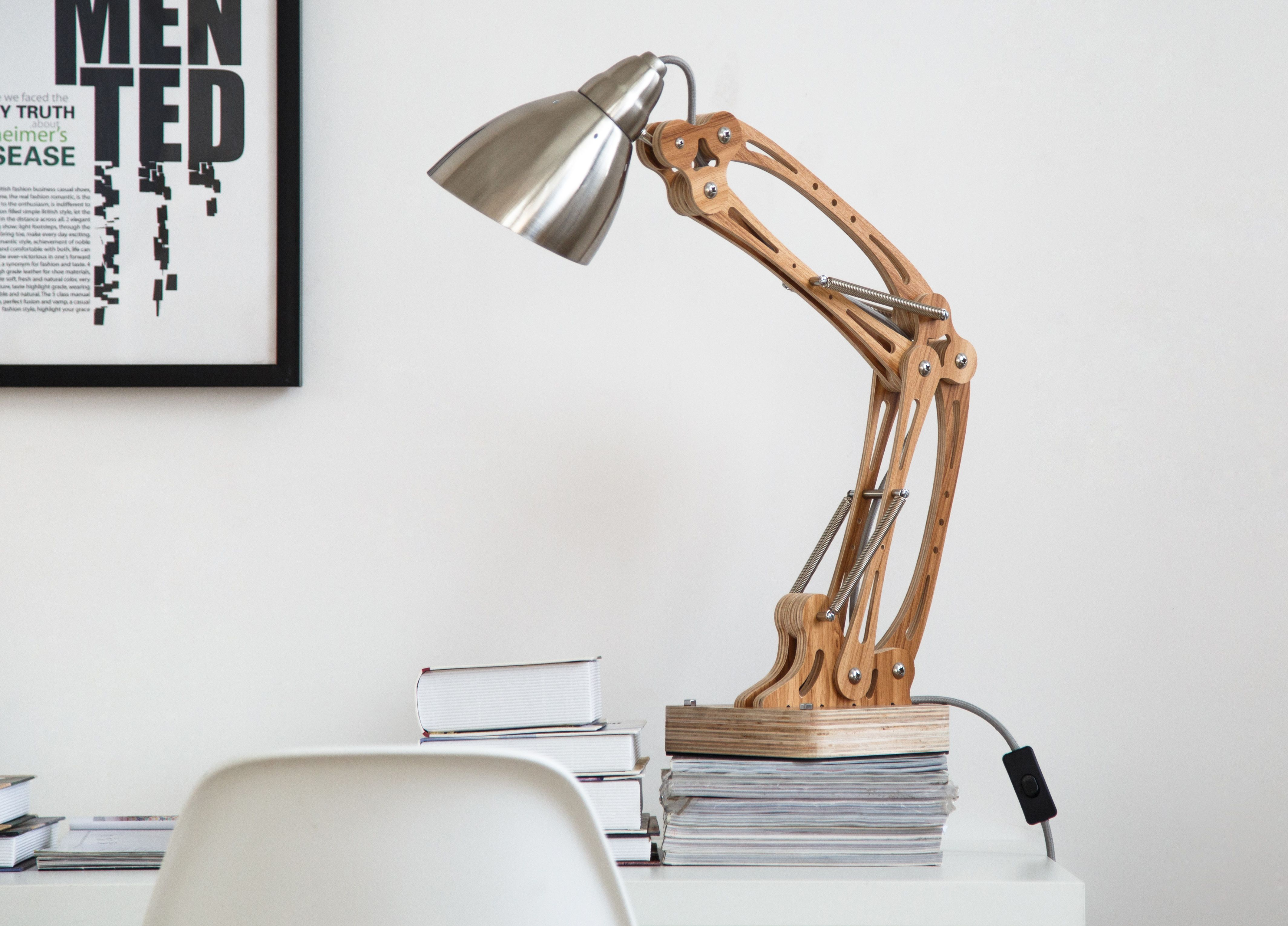 Diy Unique Flexible Arm Table Lamp Rustic Wooden Home Lighting