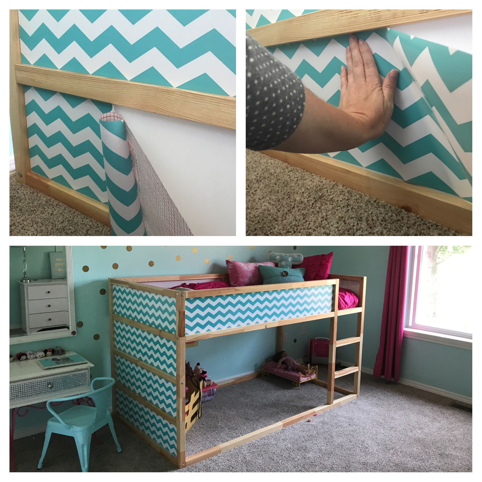 Contact Paper Shelf Liner Added To Ikea Kura Bed A Fun Easy Way To Add Color To The White Panels For Under 10 And Less Ikea Kura Bed Kura Bed White Paneling