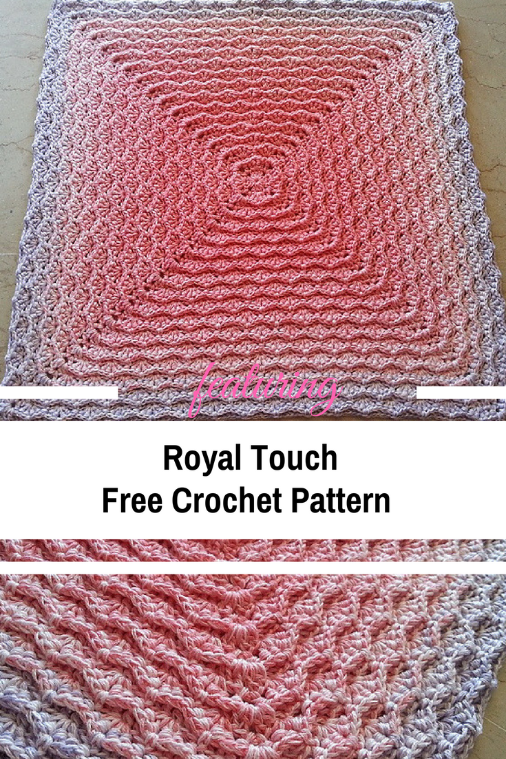 Modern Textured Crochet Square With A Royal Design [Free Pattern ...