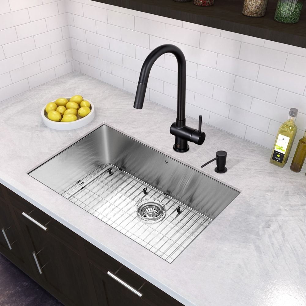 Vigo All In One 30 Inch Stainless Steel Undermount Kitchen Sink And Gramer Stainless Steel Kitchen Sink Undermount Undermount Stainless Steel Sink Black Faucet