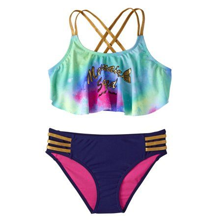 05f3fb41db Foil Mermaid Squad Tie-Dye Tankini Swimsuit (Little Girls), Size: 4 ...