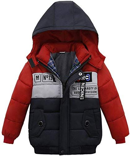 FEOYA Childrens Winter Down Jackets Boys Girls Over-Knee-Long Hooded Coats Fashionable Warm Outerwear for Kids