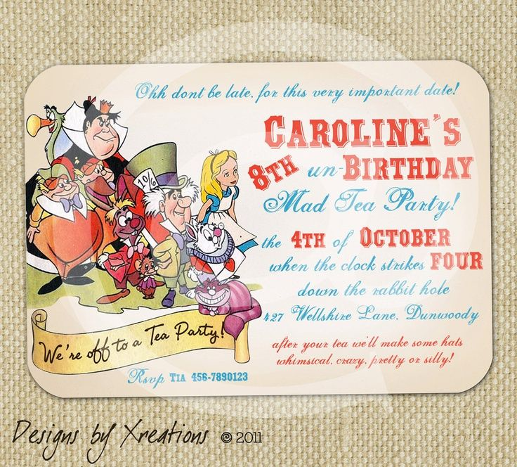 Alice In Wonderland Tea Party Invitation Template Free Alice in