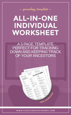 UPDATED: The Ultimate All-In-One Genealogy Worksheet   Pinterest ...