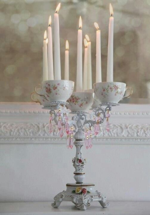 Candleabra tea party centerpiece