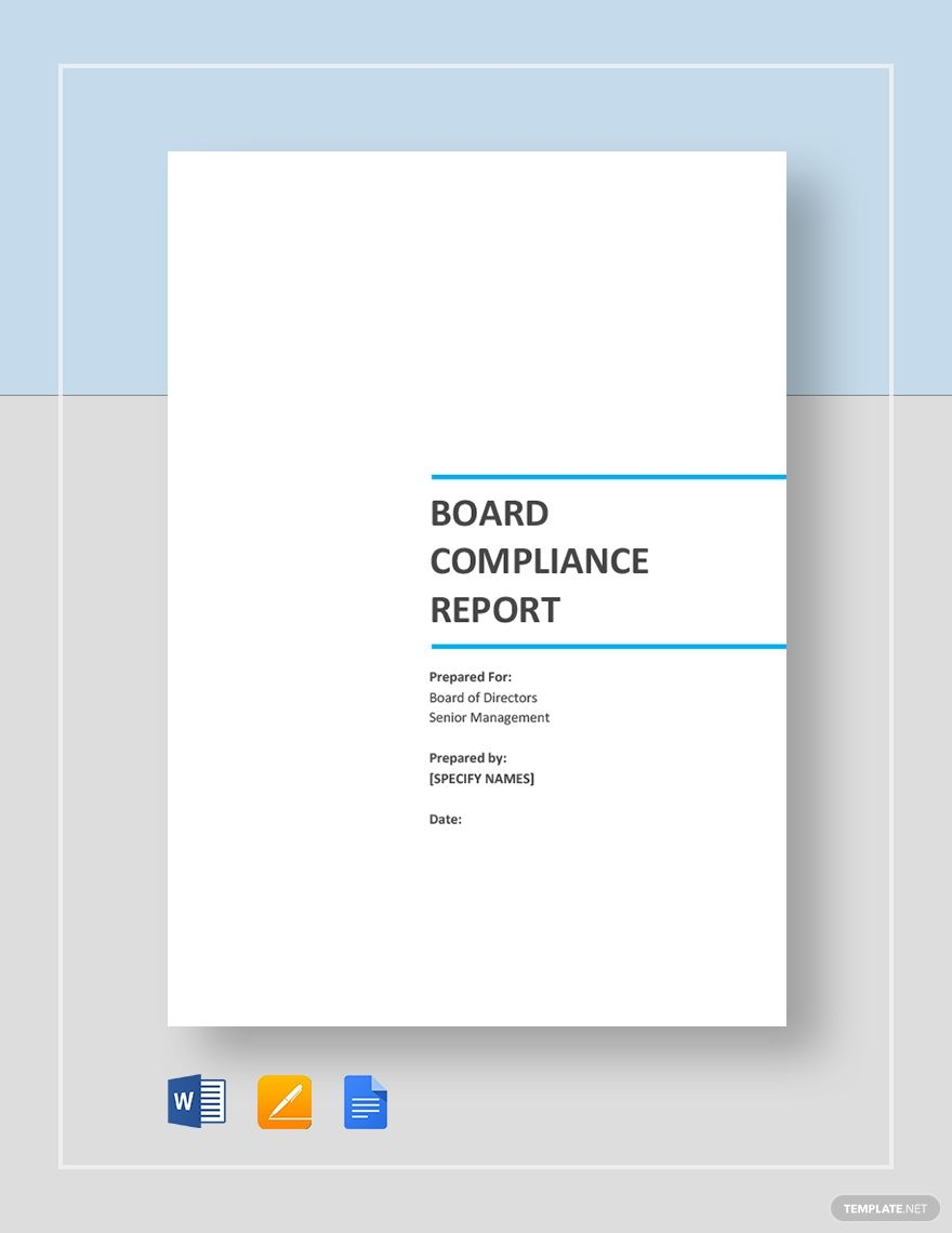 Board Compliance Report Template Word Doc Apple Mac Pages Google Docs Word Doc Report Template Words