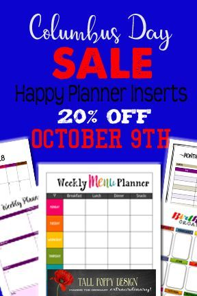 Columbus Day Sale Monday 20 Off Everything In The Store All Happy Planner Inserts Happyplanner Mambi Cre Happy Planner Planner Inserts Mambi Happy Planner