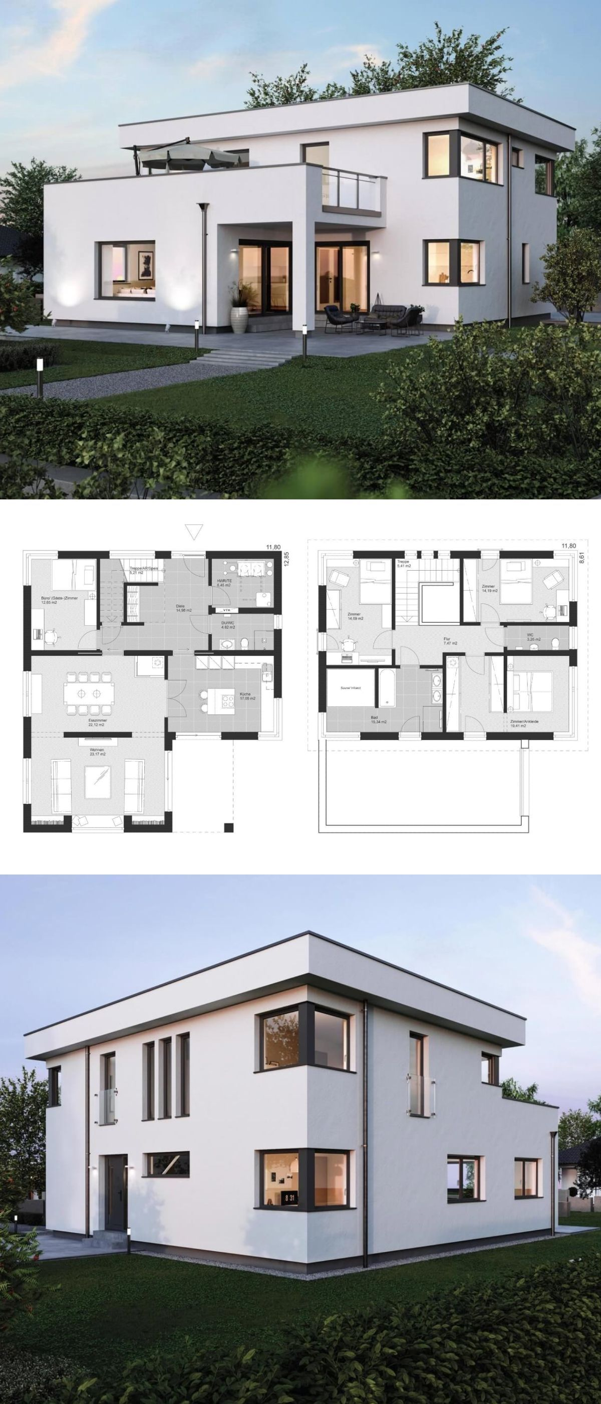 moderne stadtvilla grundriss mit flachdach architektur anbau im bauhausstil einfamilienhaus. Black Bedroom Furniture Sets. Home Design Ideas