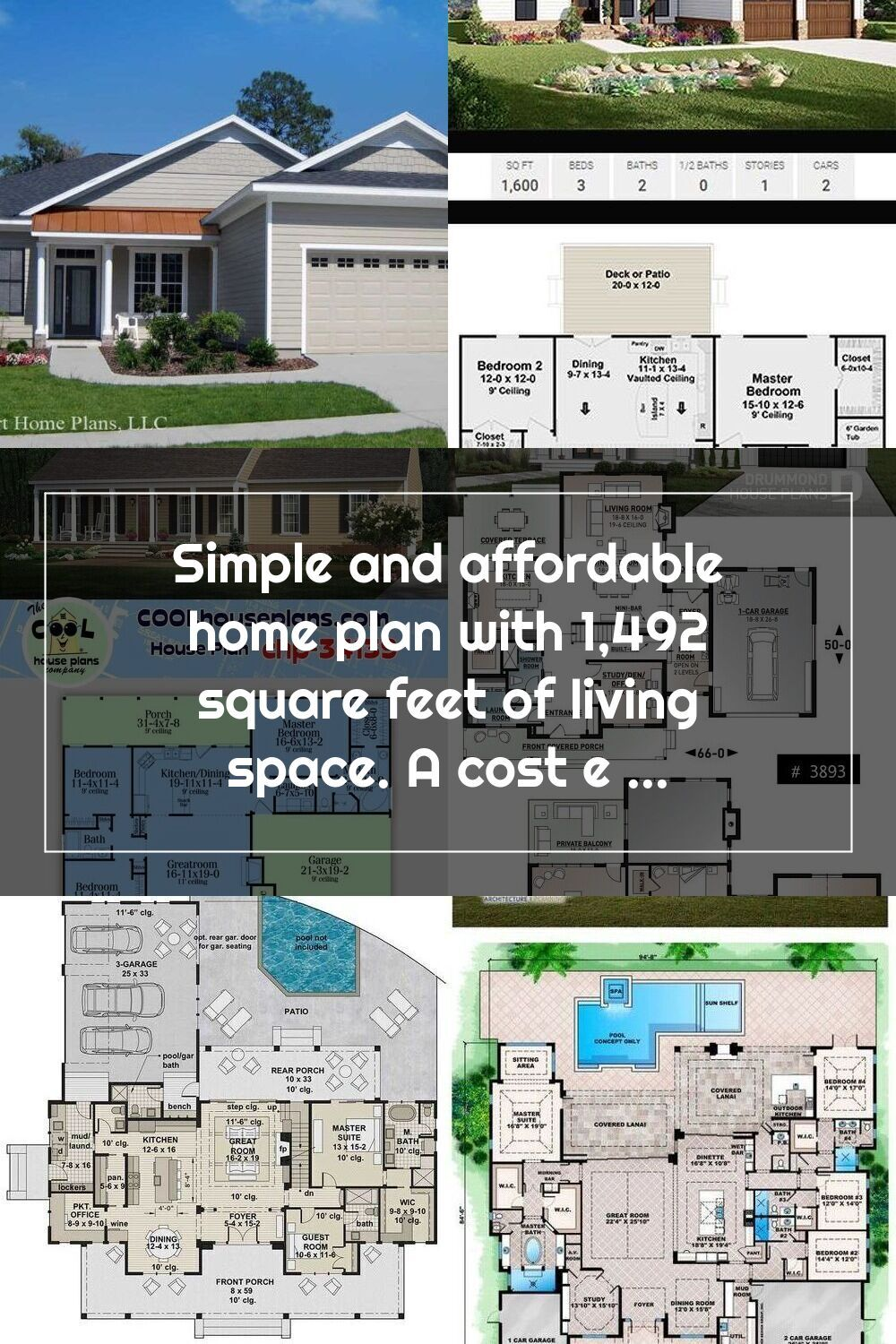 Simple And Affordable Home Plan With 1 492 Square Feet Of Living Space A C In 2020 House Plans Starter Home Plans Living Spaces