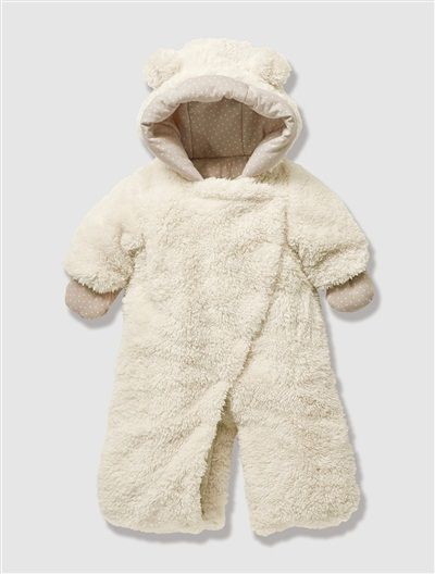 7e272167e Newborn Faux Fur Convertible Snowsuit Cream+Dark brown | Mum to Be ...