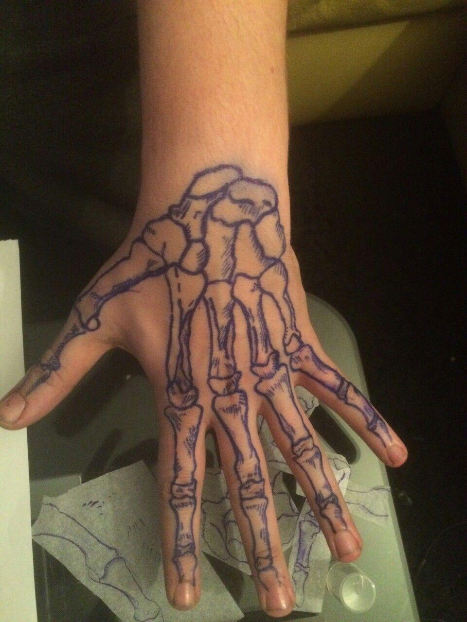 Skeleton Tattoo On Hand : skeleton, tattoo, Tattoo, Skelett, Skeleton, Tattoo,, Sharpie, Tattoos,, Tattoos