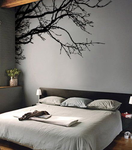 Vinyl wall decal sticker tree top branches m 100 w x 44 - How to paint murals on bedroom walls ...