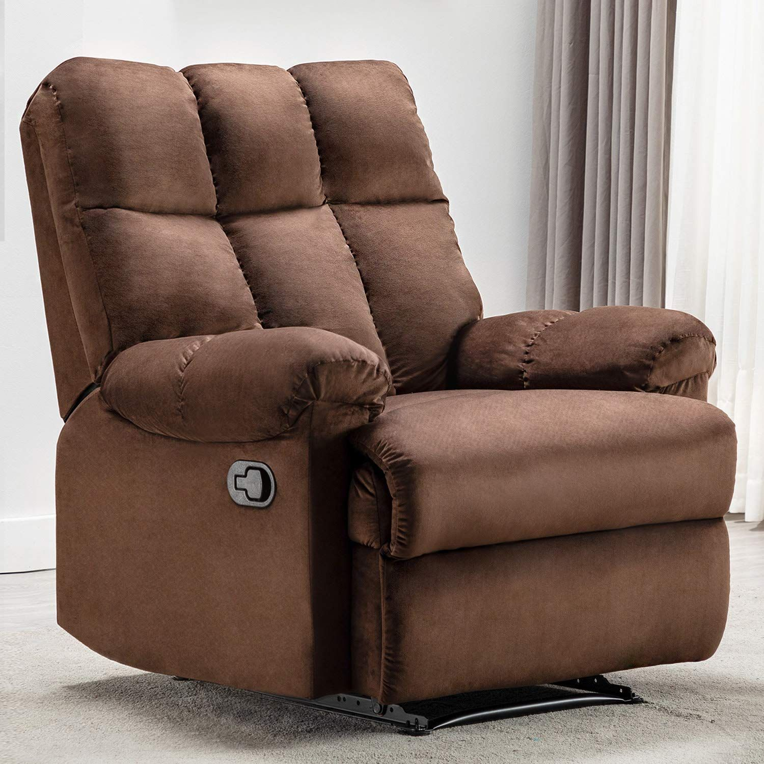 Manual Recliner Chair Armchair Sofa Padded Seat Reclining Home Theater Fabric