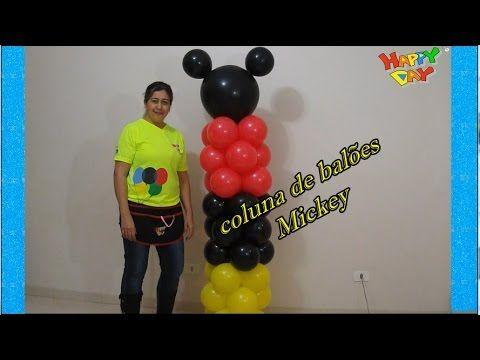 Arco De Baloes Espiral 3 Cores Tema Mickey Guirlanda De