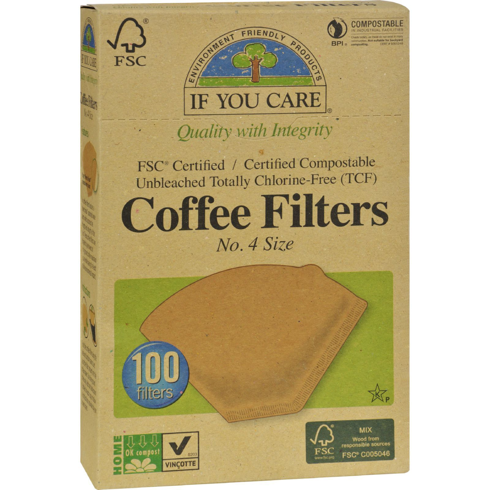If you care 4 cone coffee filters brown case of 12