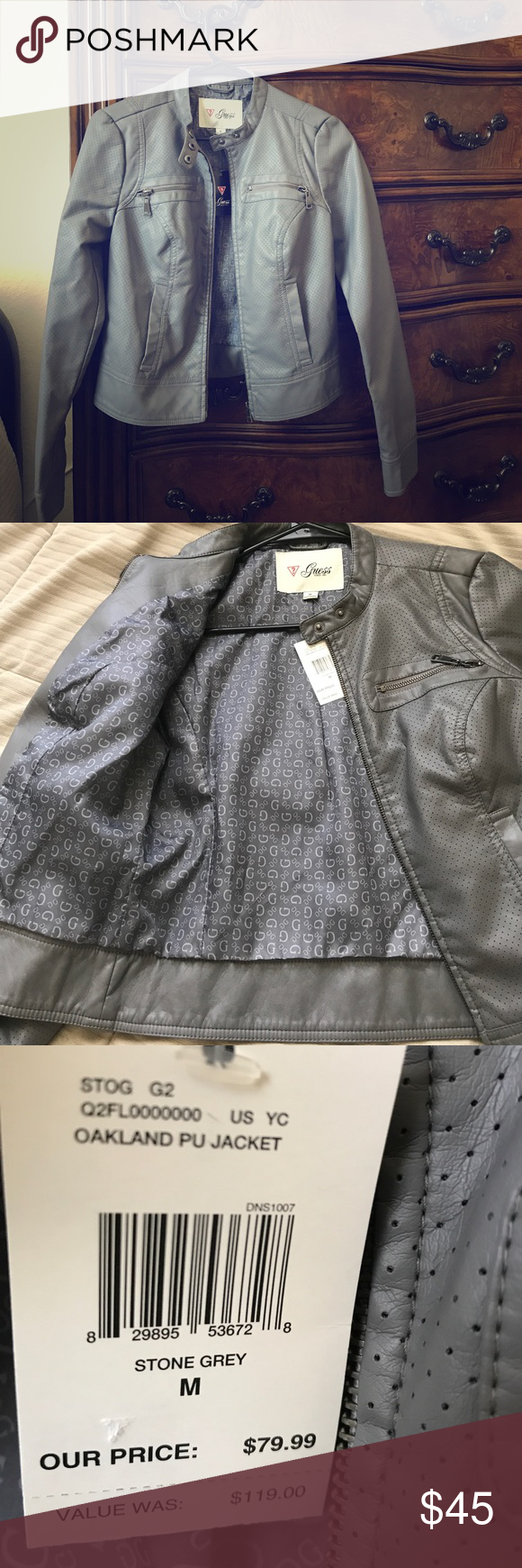 Stone grey guess leather jacket nwt nwt leather jackets stone and