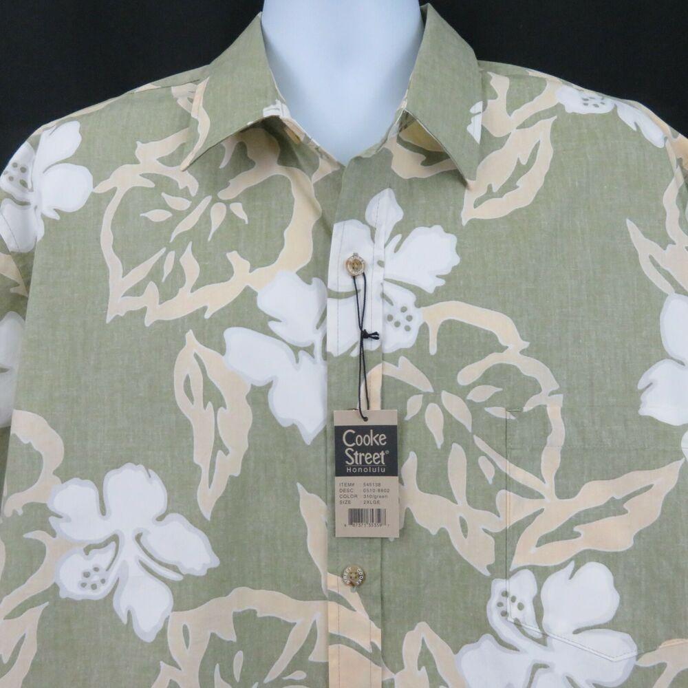 6e1dc2c9 Cooke Street Reverse Print Floral Green Mens 2XL Aloha Hawaiian Shirt SS  New #CookeStreet #Hawaiian