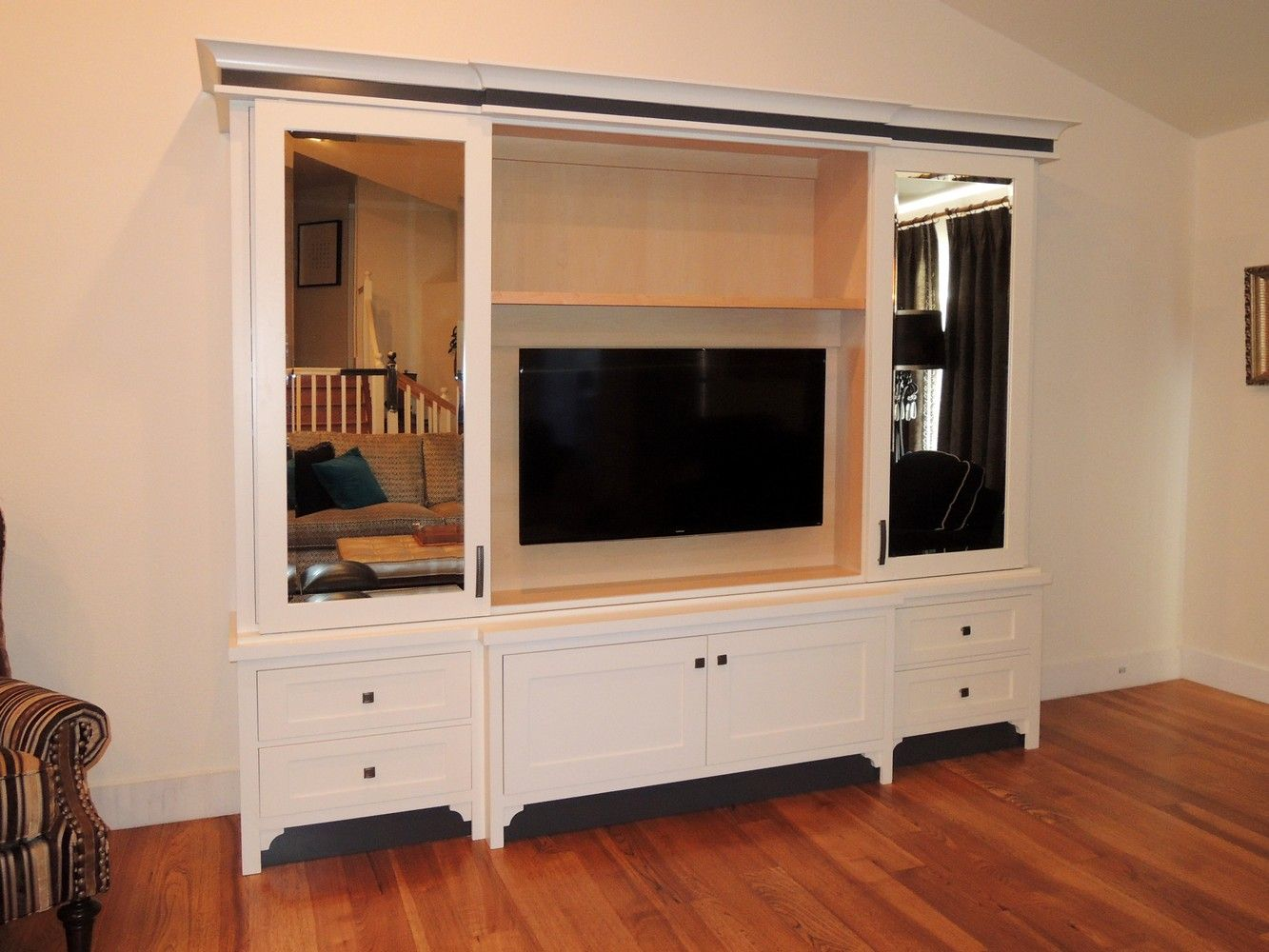 Faux Finished Cabinet Made For Motorized Tv Lift At The End Of The  # Meuble Tv Lift