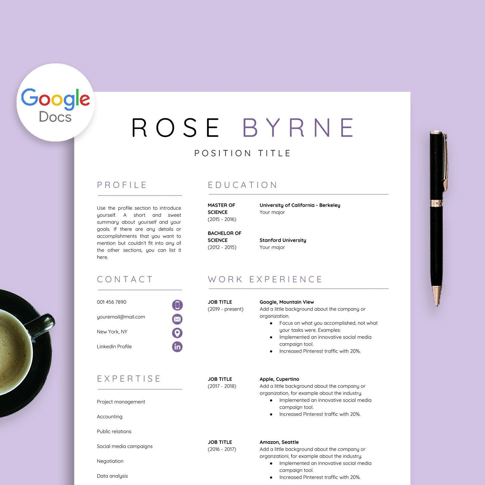 Resume Template Google Docs, Google Docs Resume + Cover