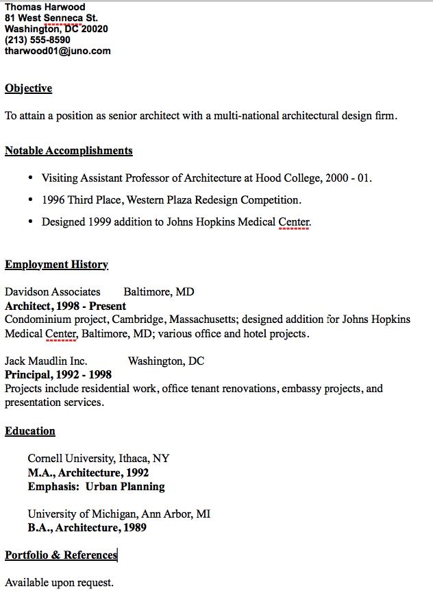 Senior Architect Resume Sample - http://resumesdesign.com/senior ...
