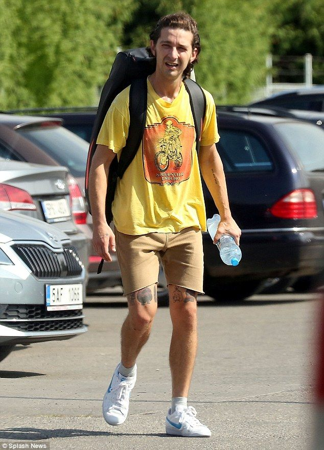 Shia LaBeouf wears tiny shorts as he gets into character