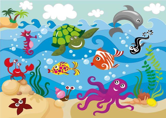 Mural infantil del fondo marino taller manualidades for Dibujos pared infantil