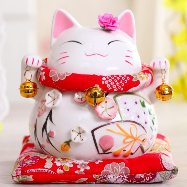 "4.5/""Chinese Feng Shui Maneki Neko Wealth//Good Fortune Waving Lucky Beckoning Cat"