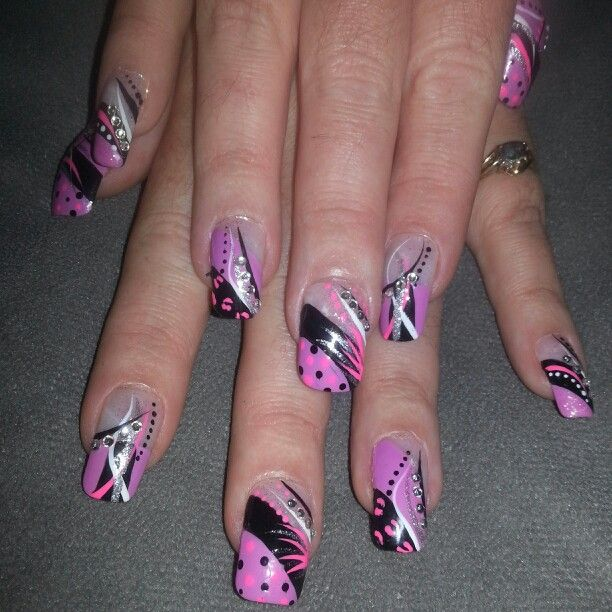Purple Pink Black Rhinestones White French Tip Nail Designs Art