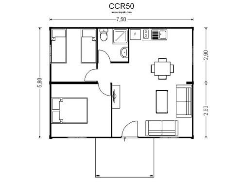 Plano casa dos dormitorios cocina comedor ba o 60 metros 2 for Plano de pieza cocina y bano