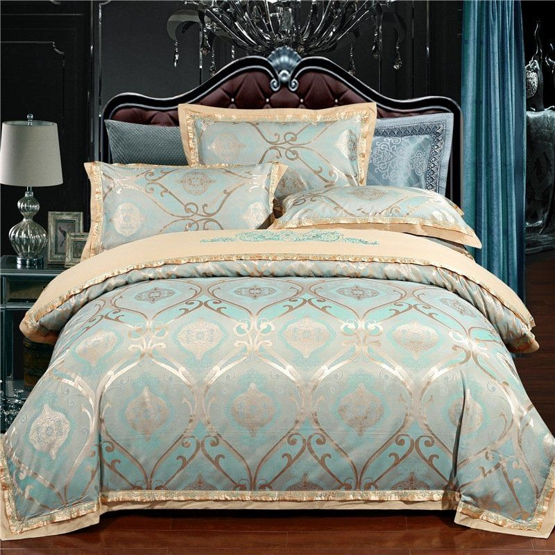 Unique Turquoise And Gold Victorian Gothic Pattern Fancy Indian Western Style Full Queen Size Bedding Sets Hi Bedding Sets Luxury Bedding Queen Bedding Sets
