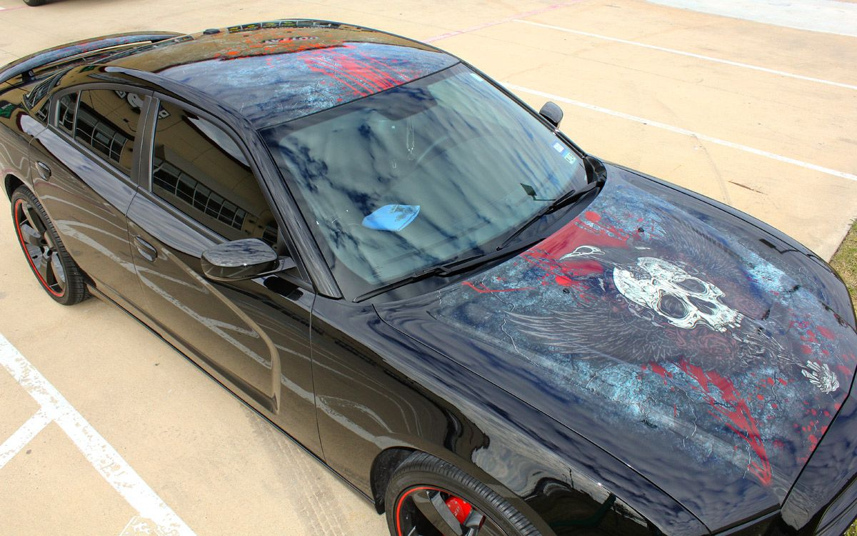 Skull with Wings Hood and Roof Graphic on Charger Car wrap