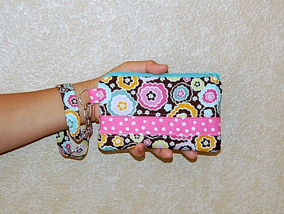 Chocolate Lollipop and Pink Polka Dots  Wristlet Purse by RKEMdesigns, $14.95