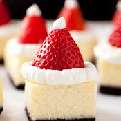 Santa Hat Cheesecake Bites- made these tonight, minus the strawberry top and they are very good.