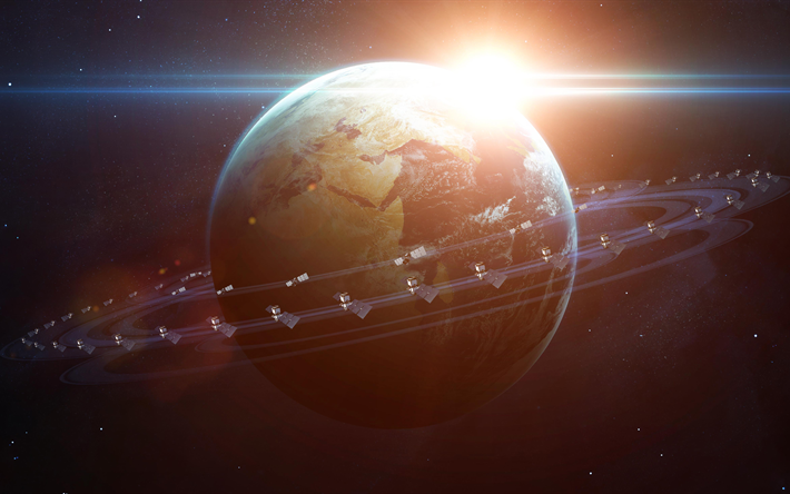 Download Wallpapers Earth Planet 4k Satellite Trajectory