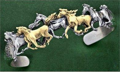Running Arabian Horses Cuff Bracelet 14K Gold & Sterling Silver
