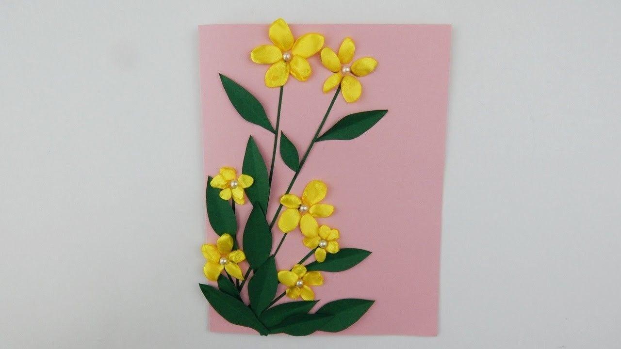 Scrapbooking buttercups yellow ribbon flowers diy papercraft