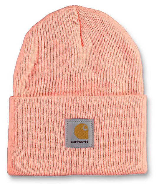 The Watch beanie in the fresh peach colorway from Carhartt is made with a  tight knit 589634f5574