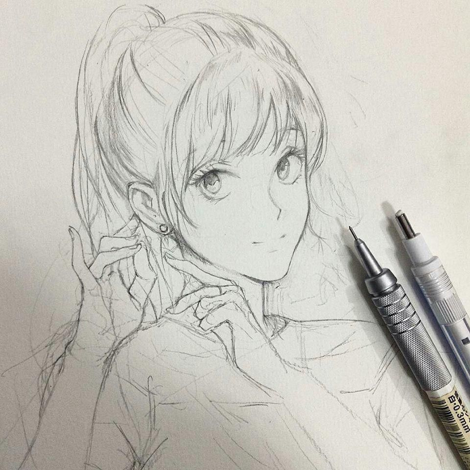 Thought I Would Try Drawing A Girl For Ones You Know Anime Animesketch Manga Japan In 2020 Anime Drawings Sketches Anime Sketch Manga Art