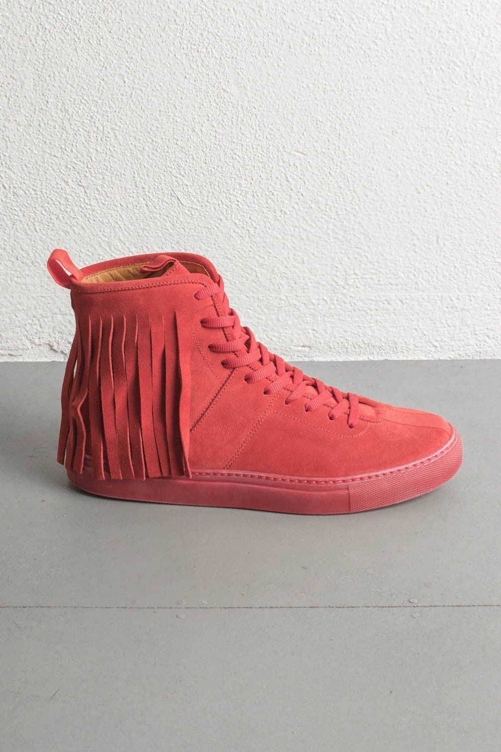 39fbecc46f11d red high top fringe sneakers by daniel patrick Red High Tops