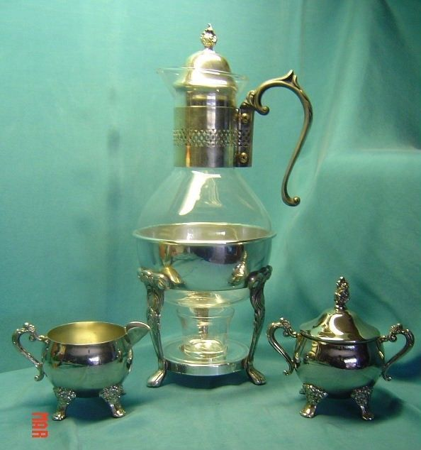 Vintage Silver Plate Footed Candle Heated Glass Coffee Tea