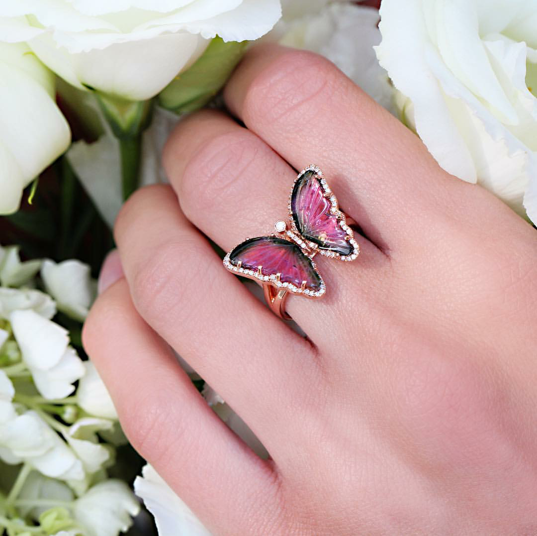 14kt rose gold and diamond watermelon tourmaline butterfly ring by ...