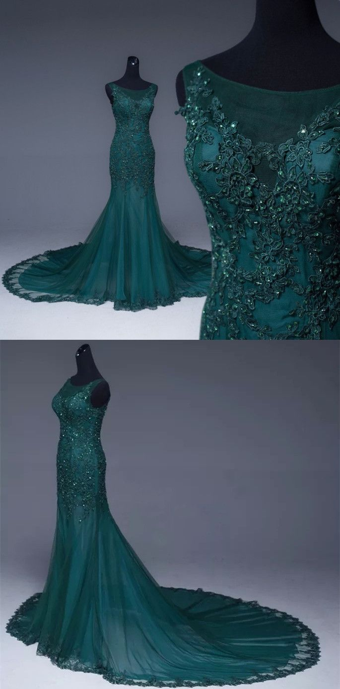 Emerald green tulle mermaid prom dresses lace appliques formal dress