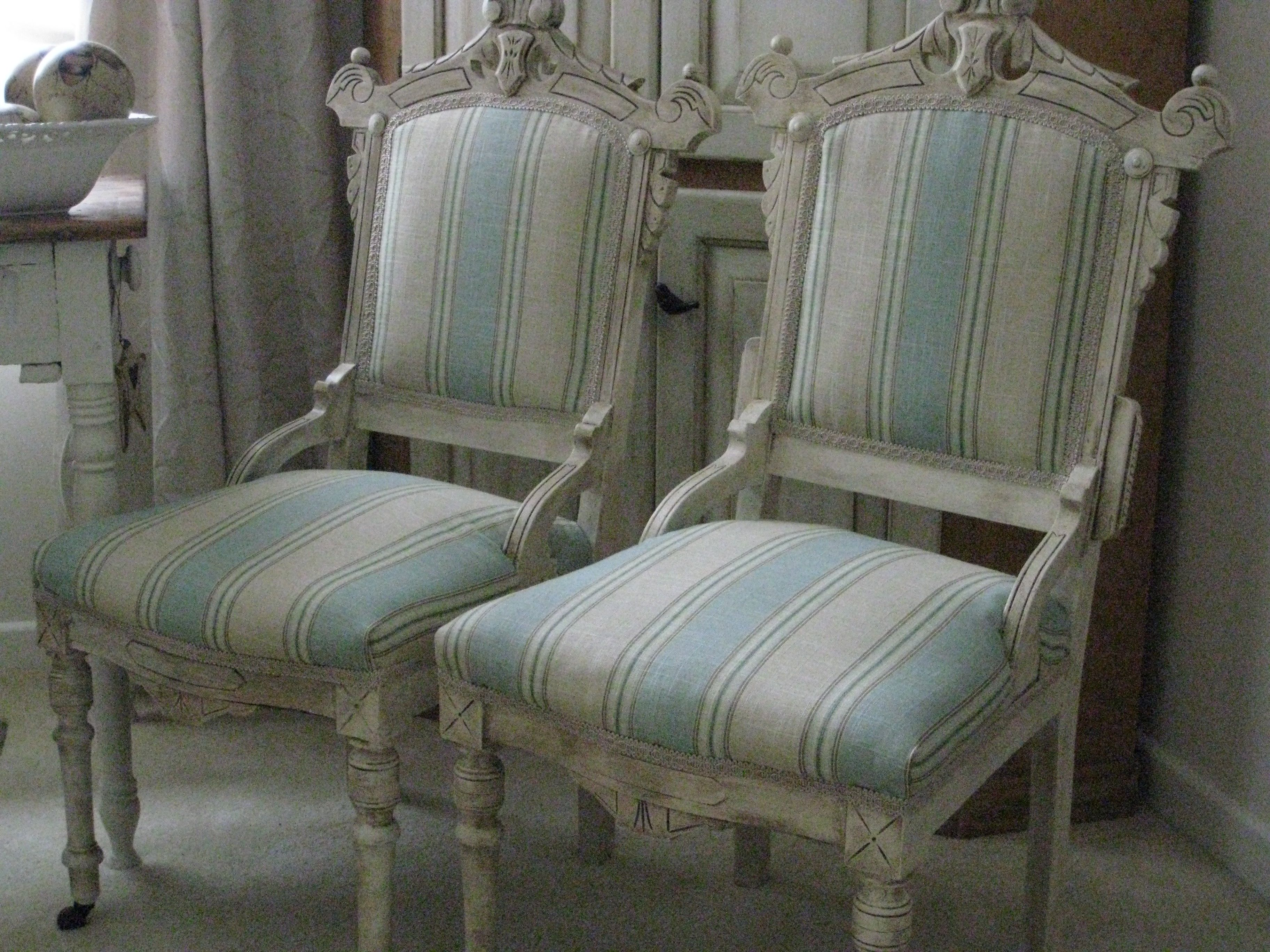 Painted Eastlake Chairs with Fresh New Fabric See the