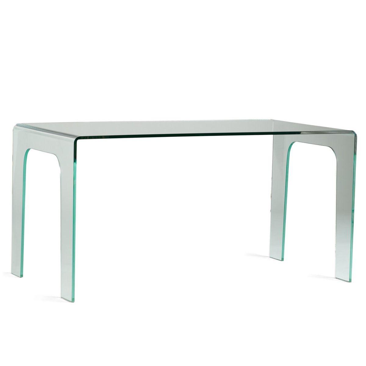 Minimalism Sleek Glass Desk Modern Home Office Clear Desk