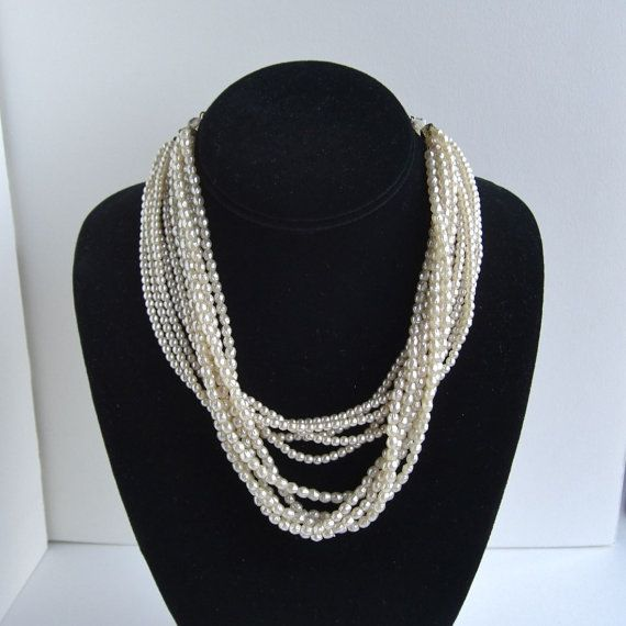 Vintage Multi Strand Pearl Choker Necklace  Adjustable by lucra, $14.50