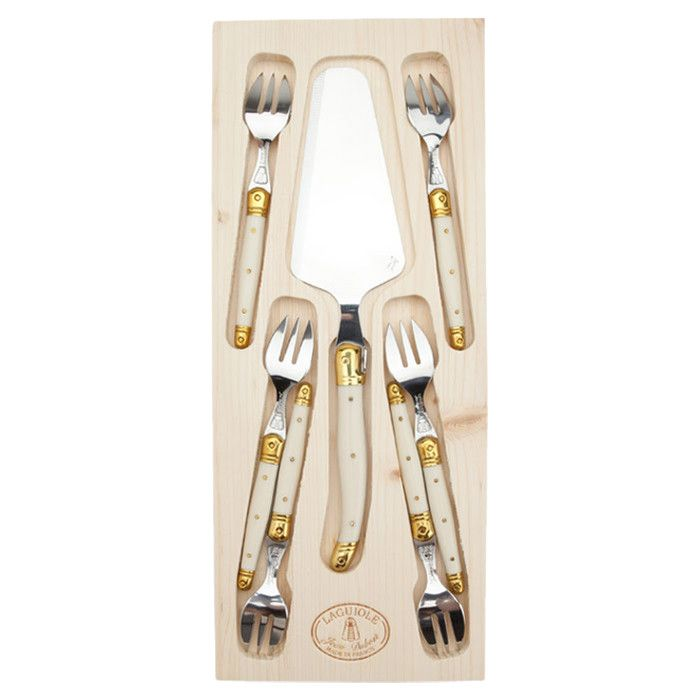 8 Piece Laguiole Cake Set in Ivory