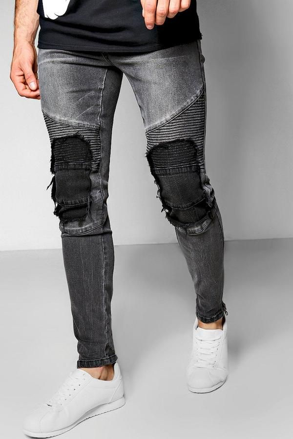 57ee0c5de2b5 boohoo Charcoal Skinny Fit Jeans With Biker Repairing #men #fashion #male  #style #menfashion #menwear #menstyle #clothes #man #ad